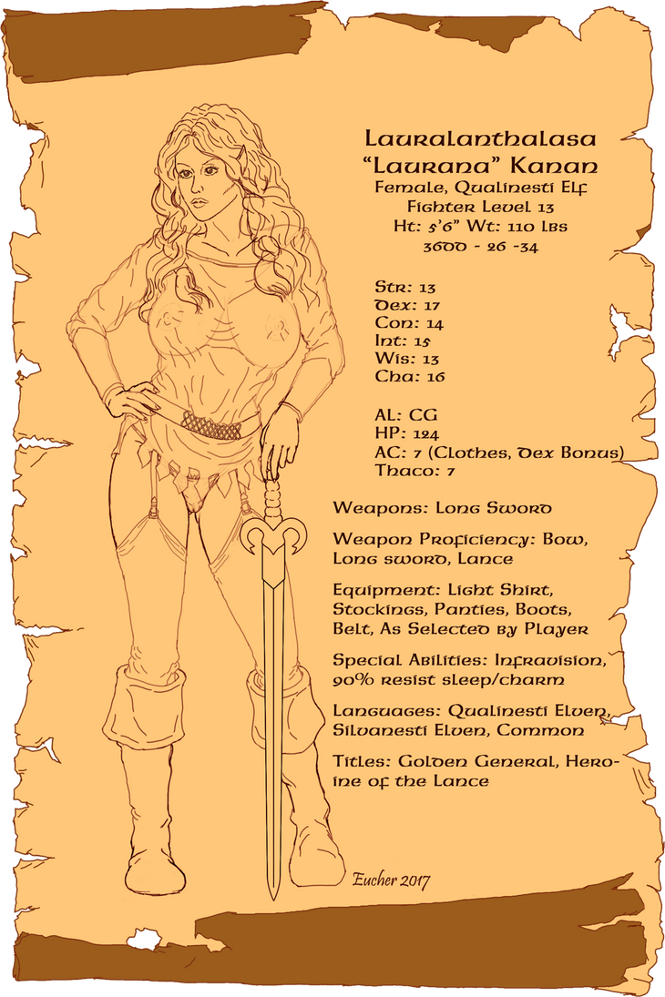 Laurana Character Sheet by Aelindia