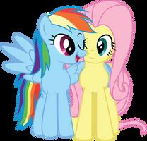 RainbowDash-n-Fluttershy-snuggle by GenixDK