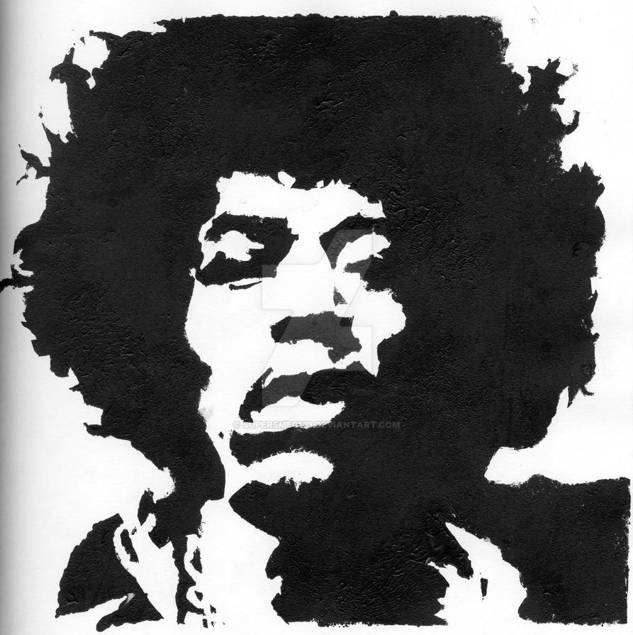Jimi Hendrix Stencil By Supersmeg123