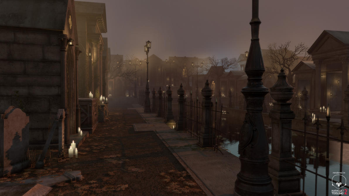 Gothic Cemetery Kit Lamppost shot by PixelMonger75