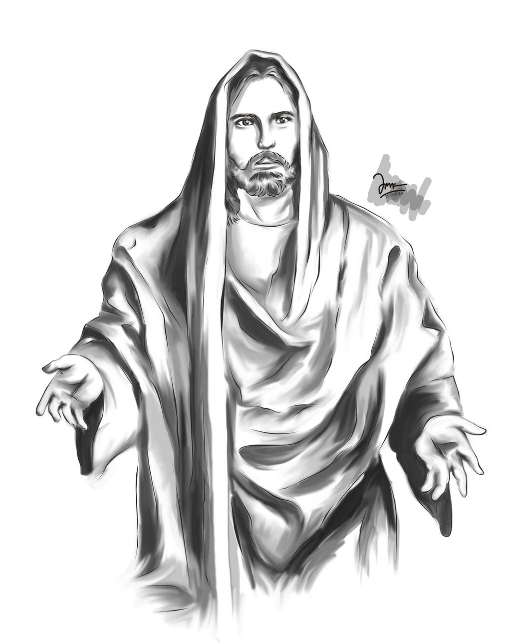 Line Art Jesus : Jesus vector by jerrytangkawarow on deviantart