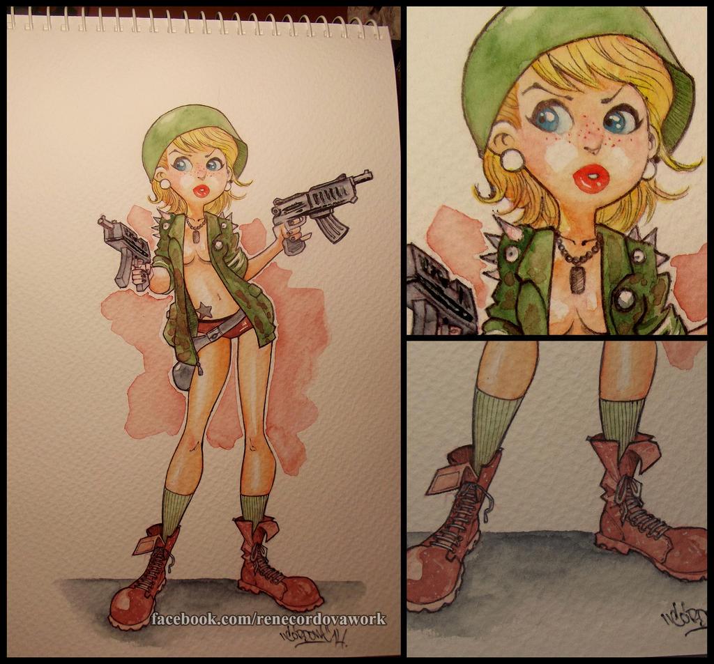 War girl watercolors by renecordova