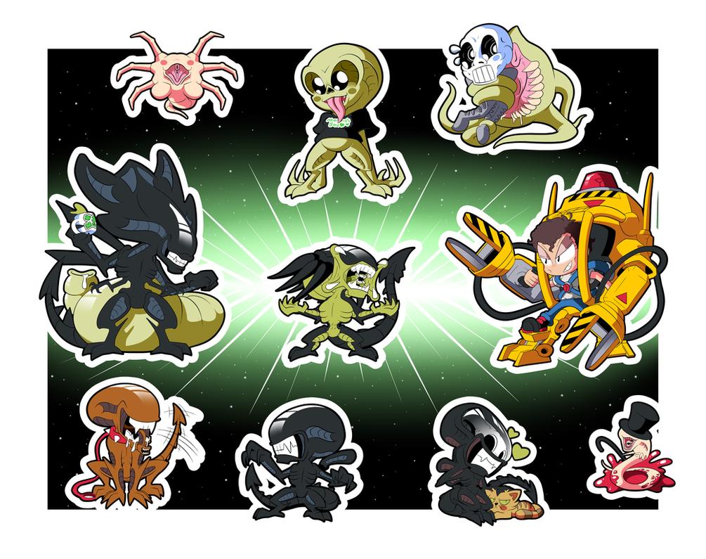 Aliens Chibi Stickers Set by BLARGEN69
