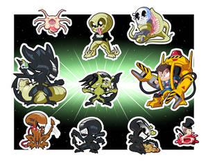 Aliens Chibi Stickers Set