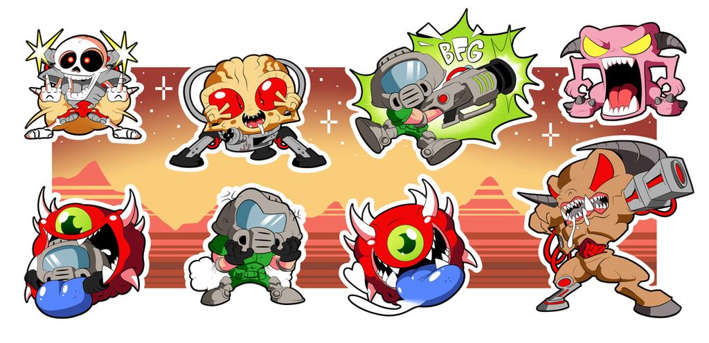 DOOM Chibi Sticker Set! by BLARGEN69