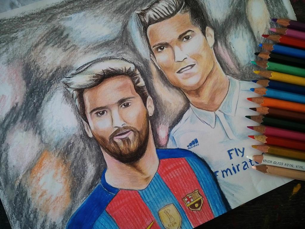 #Messi #Ronaldo #pencil_art watch the video... by Pranjalshrivastava