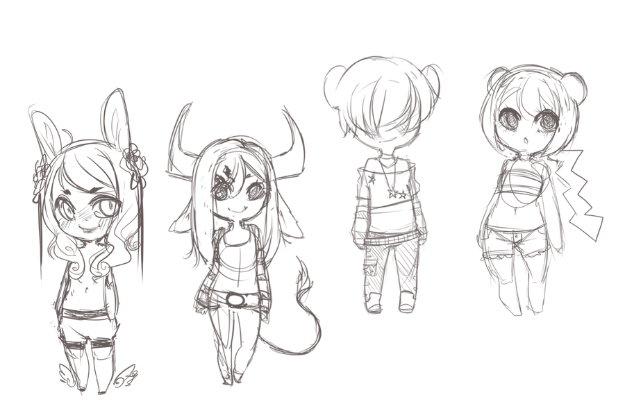 Chibi Sketches By Mint Muffin On Deviantart