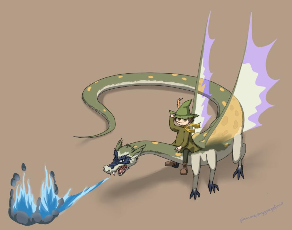 Snufkin and the Last Dragon On Earth by sannasanna