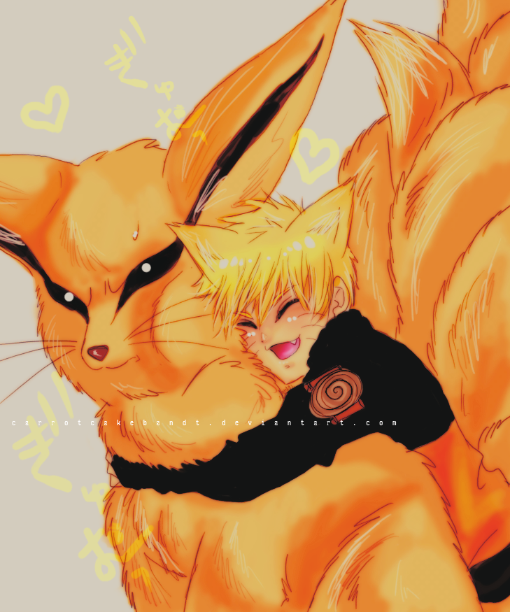 Naru and Kyuubi by CarrotCakeBandit