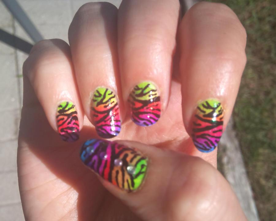 Rainbow Tiger Nail Art by Lucia-Chan on DeviantArt