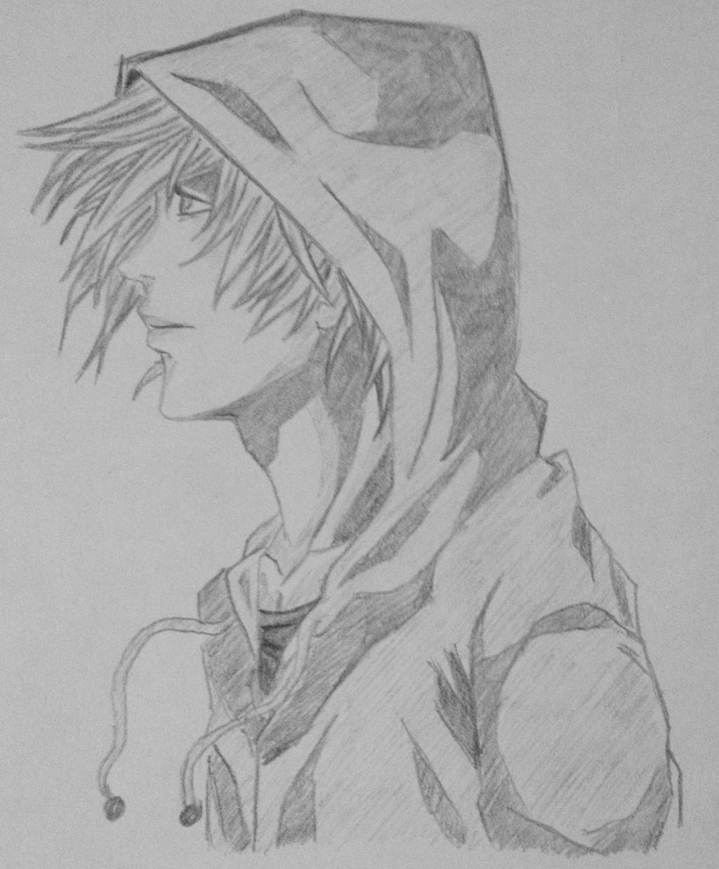 Pokelantislv9999 Side View Hooded Guy Anime By