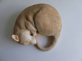 Silver Fawn Sleeping Rat Sculpture by philosophyfox