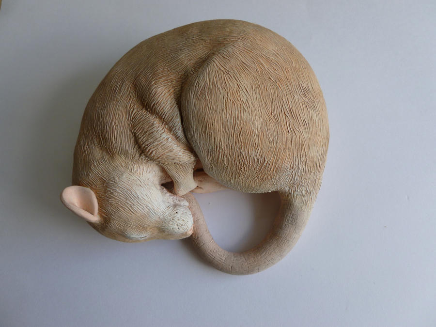 Silver Fawn Sleeping Rat Sculpture by philosophyfox