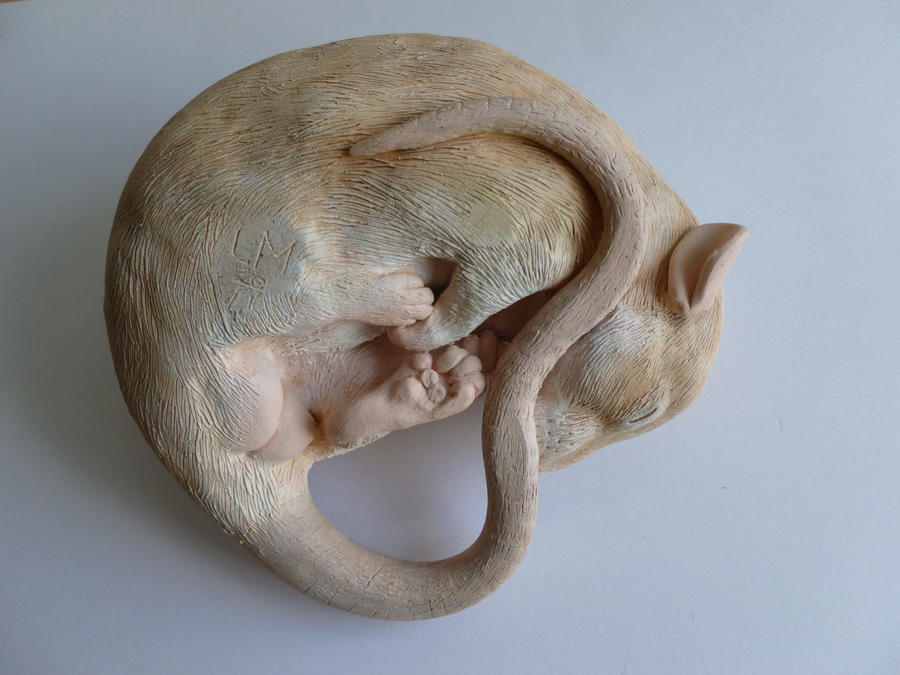 Silver Fawn Sleeping Rat Sculpture alt angle by philosophyfox