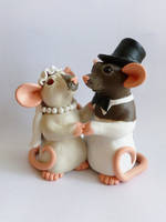 Rat Wedding Cake Topper Commission by philosophyfox