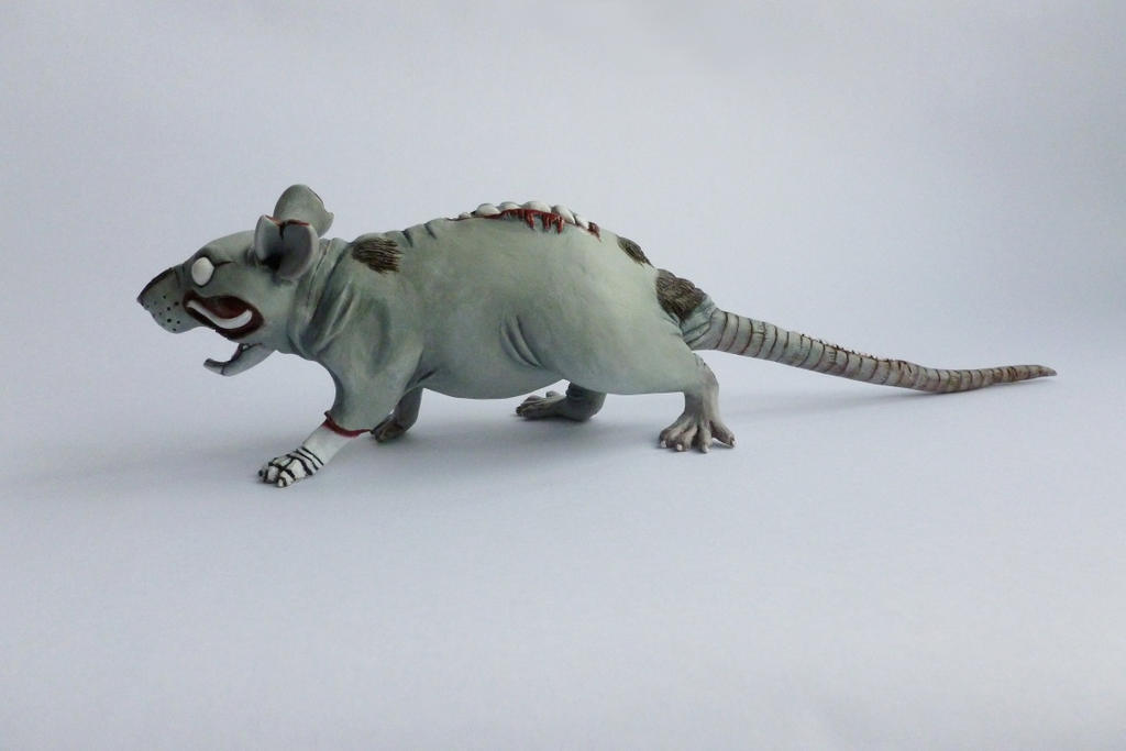 Large Zombie Rat Sculpture Finished Angle 2 by philosophyfox