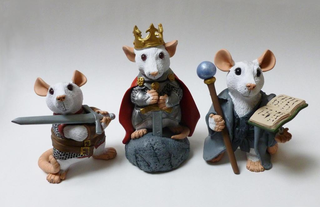 Arthurian Rat Mini Rat Sculptures by philosophyfox
