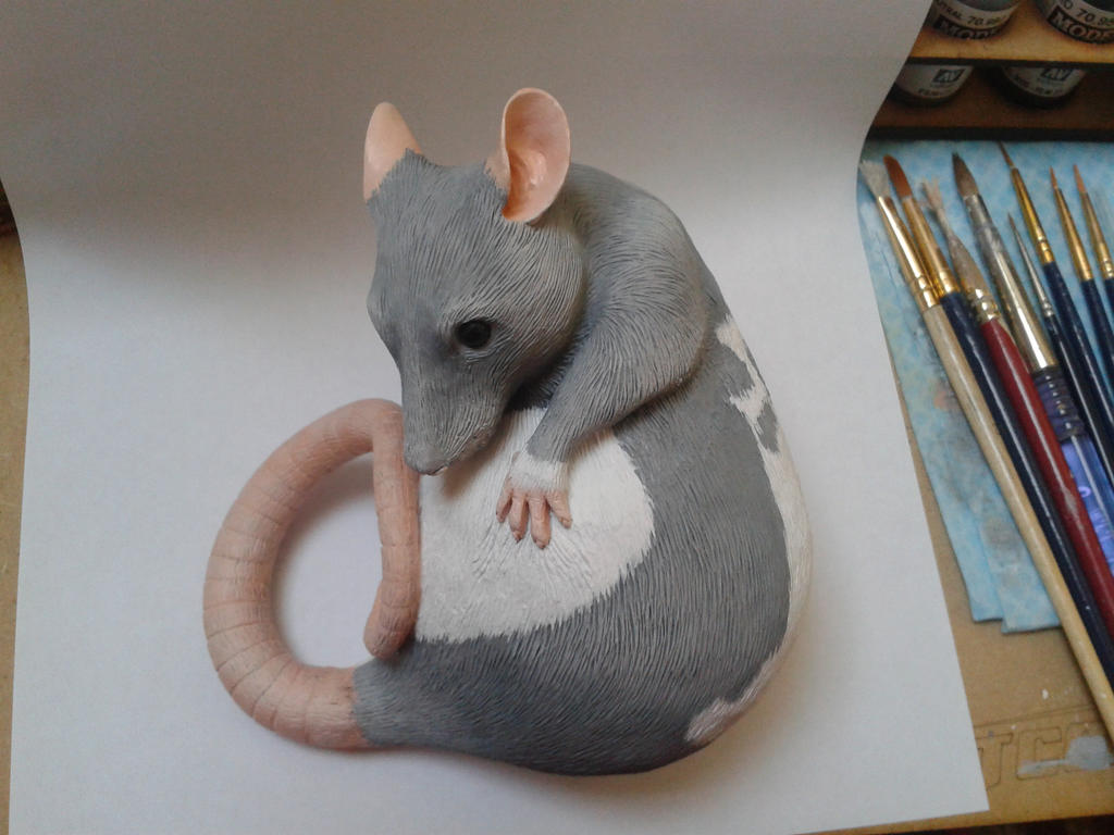 Hooded Rat Sculpture WIP by philosophyfox