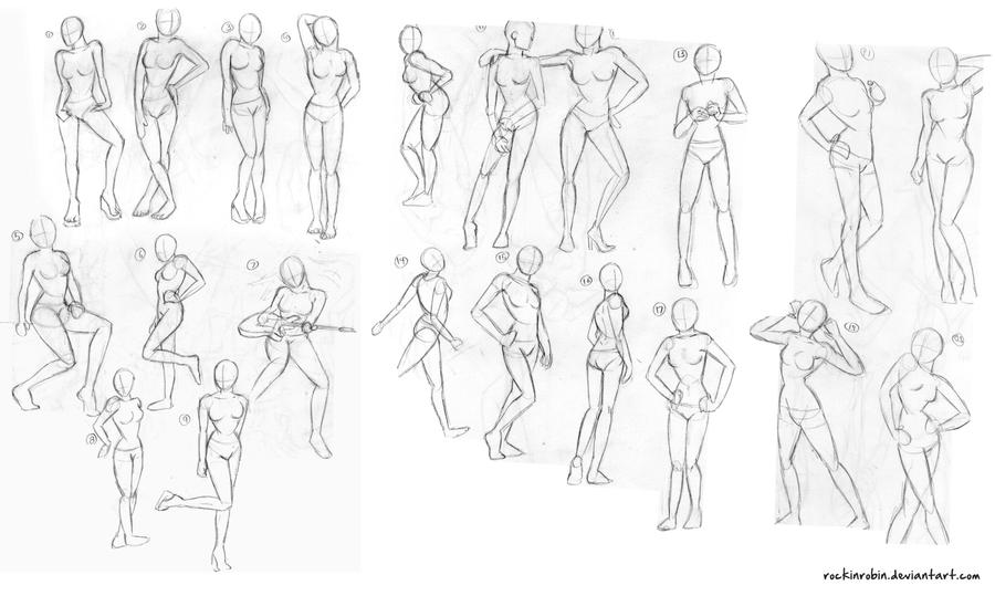 Female Figure Sketches by rockinrobin