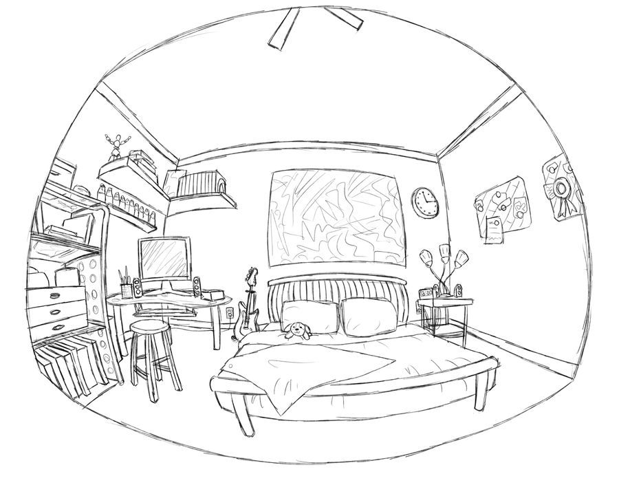 My bedroom sketch by rockinrobin on deviantart for Bedroom designs sketch