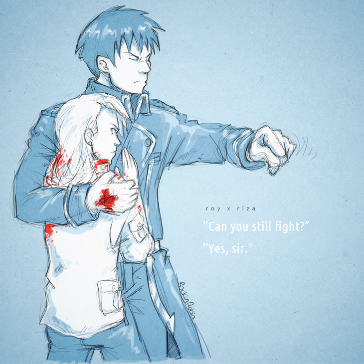 Royai :: 'Can you still fight?' by rockinrobin