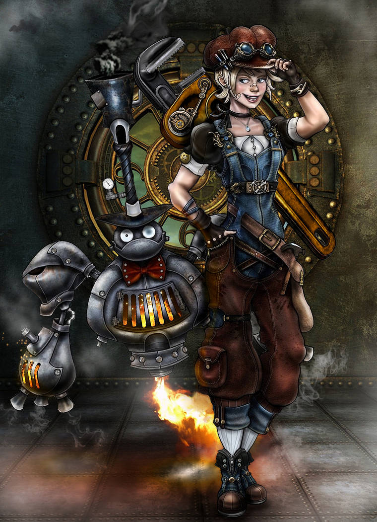 Steampunk Project - Billy and S.P.A.D.E (Digital) by MadAndPerplexed