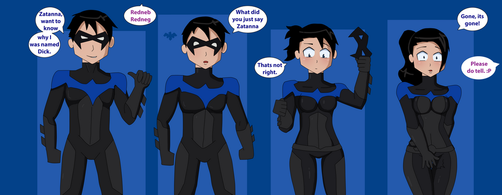 Nightwing Transformation Sequence (rule 63) by TheMaskofaFox