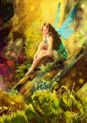 Fairy in the Woods by MoniicaArt