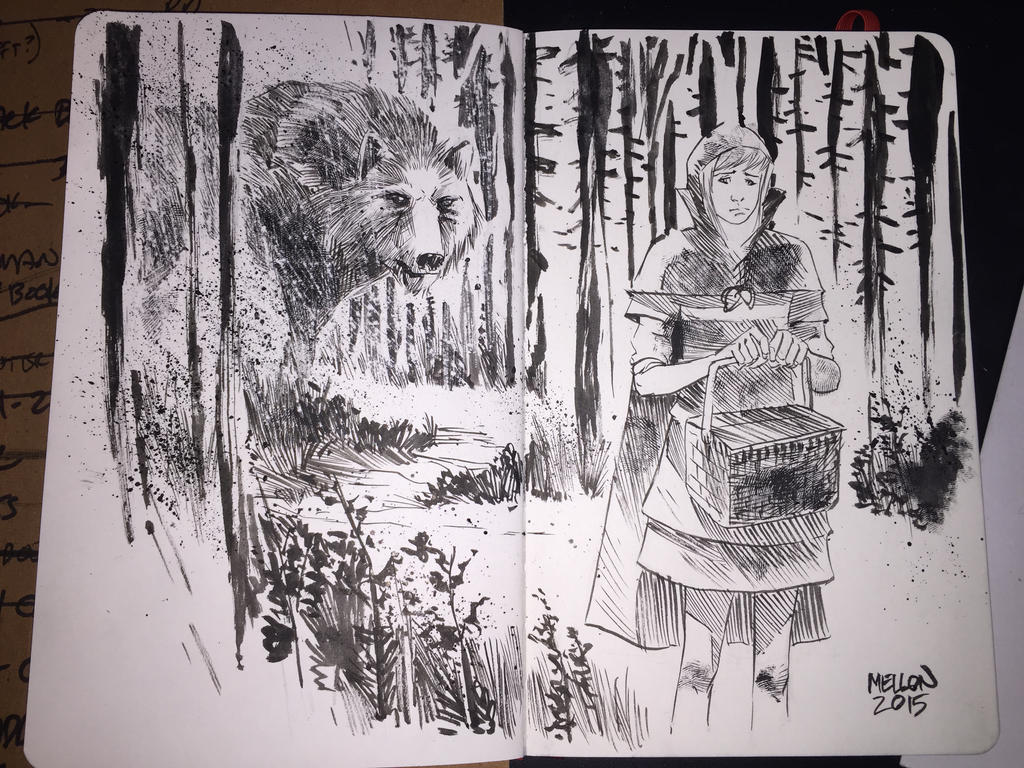 red riding hood sketch - heroes con by kevinmellon
