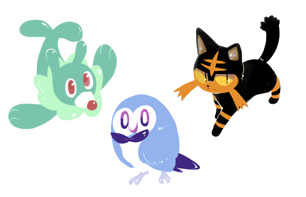 Pokemon Sun And Moon Starters By BoardOfWordplay On DeviantArt