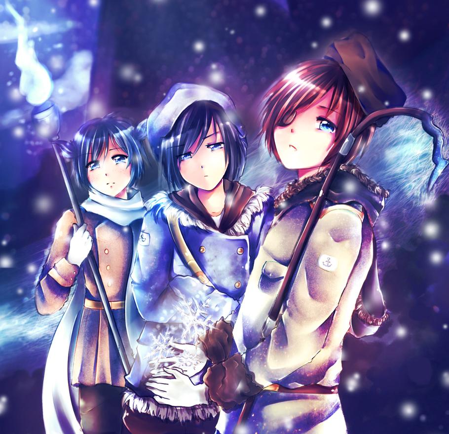 Blue eyed trio~ by Endiria