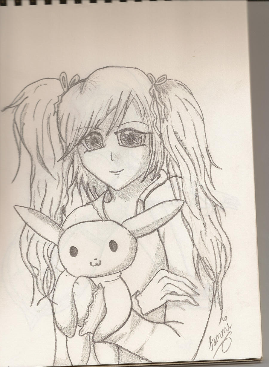Little girl with her teddy by xx-vampgirl15-xx