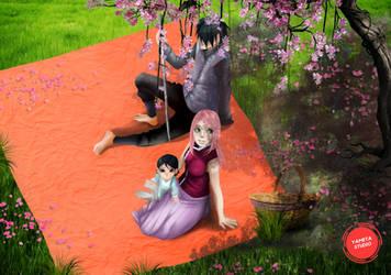 Sasuke And Sakura Eating by YametaStudio