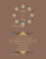 Wedding Invite In Browns, Creams and a Blue