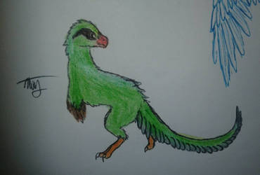 green magpie raptor  by CaramelFeather