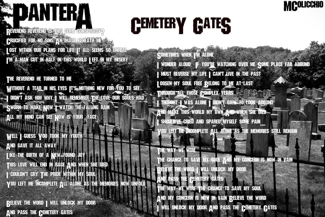 Cemetery Gates lyrics by Pantera - original song full text ...