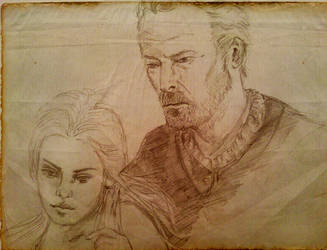sketch Mormont and Daenerys