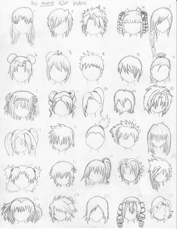 how to draw manga girl hair