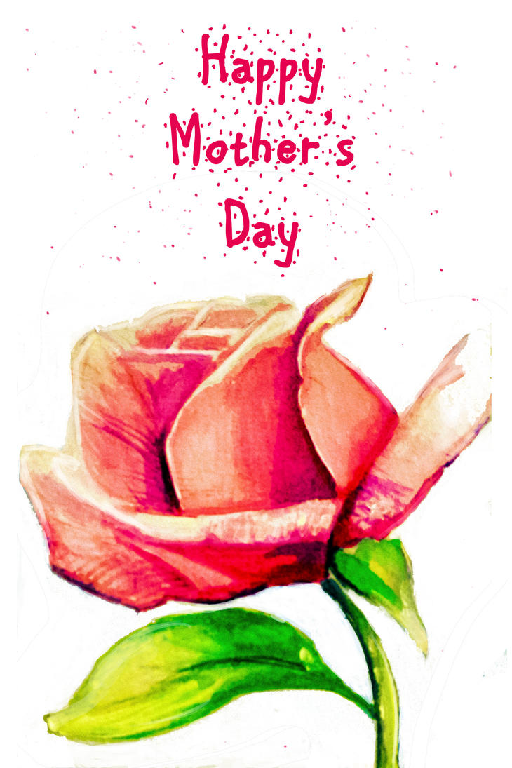 Pink Rose-Mother's day Card by Aerthemis