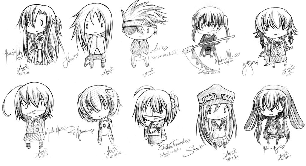 Art trades compilation pencil chibi sketches by lauespi97