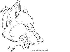 Free snarling wolf lineart by Narcratic-wolf