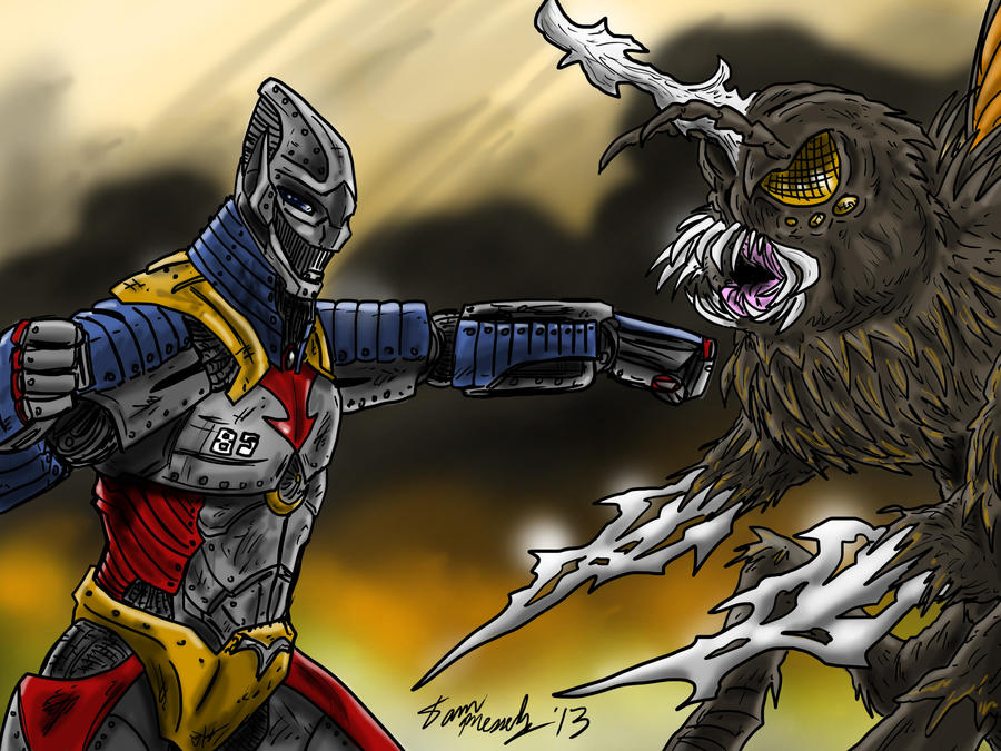 Jet Jaeger Vs. Megalon, Pacific Rim style by kaijukid