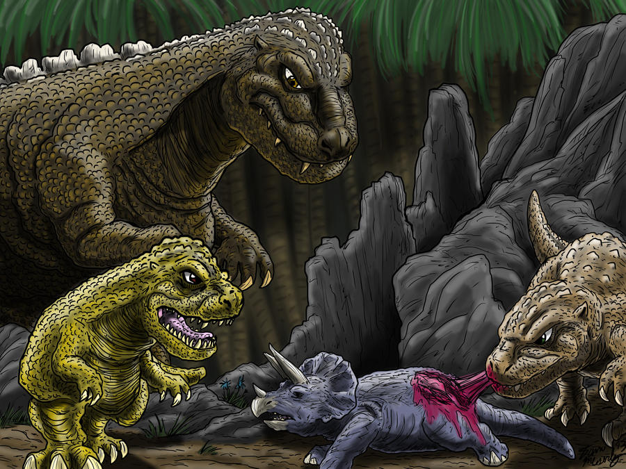 The Godzillasaurus Family by kaijukid