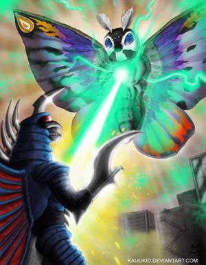 Mothra Leo vs.  Final Gigan by KaijuKid