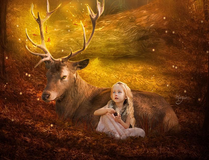 La petite fille et le Cerf by Marjie79