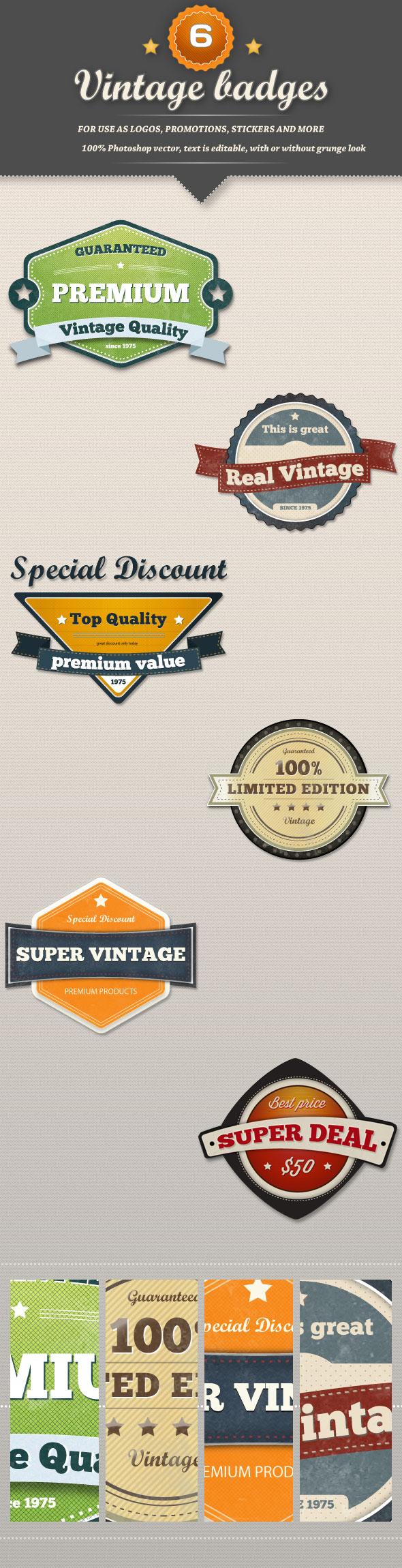 6 Retro Vintage Badges by frankschrijvers
