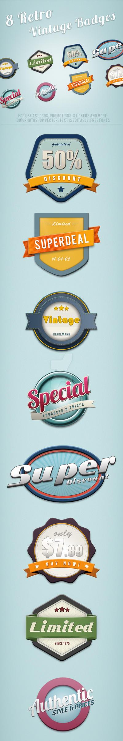 8 Retro Vintage Badges by frankschrijvers