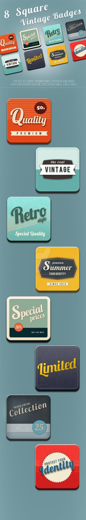 8 Square Vintage Badges by frankschrijvers