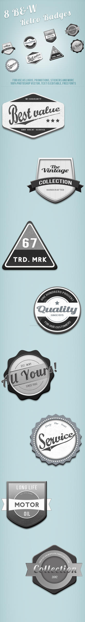 Black and White Retro Web Badges by frankschrijvers
