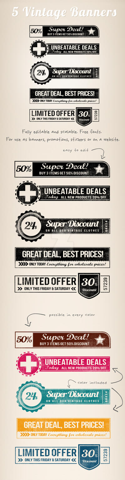 5 Vintage Retro Banners by frankschrijvers
